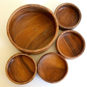 Mid Century Danish Wood Salad Bowl 5 piece Set
